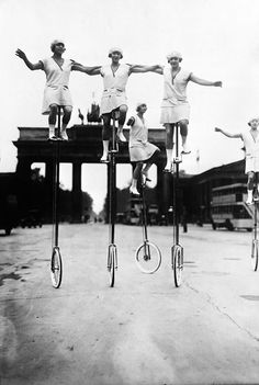 These women on unicycles.