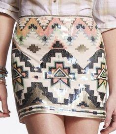 sequin aztec skirt