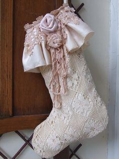 20% off sale -Vintage Victorian Christmas Stocking- originally 30.00 £24.00