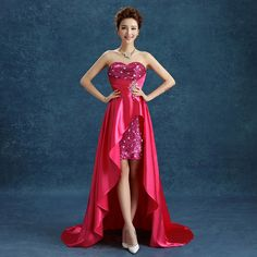 Rose Sequined Short Front Back Long Formal Evening Dress Senior Graduation Gowns Sale E033