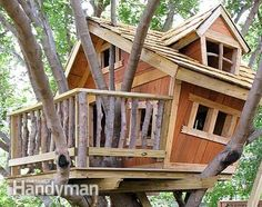 Tree House Building Tips: Tree houses are for everyone with imagination. Elevate your building skills with these tree house building tips from experienced builders, including attachment techniques, site choice, assembly techniques, design ideas and more. Read more: http://www.familyhandyman.com/garden-structures/tree-house-building-tips/view-all