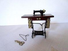Miniature Sewing Machine Dollhouse Sewing Machine by Mydaisy2000