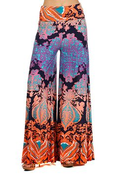 New Lycra Coral Fold waist Wide leg Palazzo Pants Size Small  Made USA #Unbranded #CasualPants