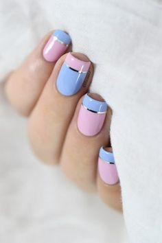 Pink & Periwinkle - These Pretty Pastel Nails Are Perfect For Spring - Photos