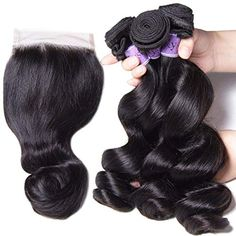 UNice Hair Kysiss Series Brazilian Loose Wave Bundles with Lace Closure Unprocessed Virgin Human Hair Weave Extensions Natural Color 18 Closure) Unice Hair, Hair Weft, Brazilian Loose Wave, Waves Bundle, Hair Quality, Body Wave Hair, Wig Making, Loose Waves, Lace Closure