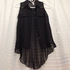 Pleated sheer chiffon top Black sleeveless button down shirt with pleated high low back Xhilaration Tops