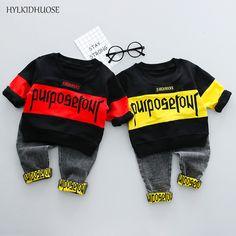 HYLKIDHUOSE 2018 Bahar Çocuk Setleri Bebek Erkek Giysileri Setleri Kaliteli T Gömlek + Kot Moda Çocuklar Bebek Pamuk Suits