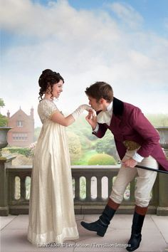Lee Avison regency man kissing woman's hand in garden Couples