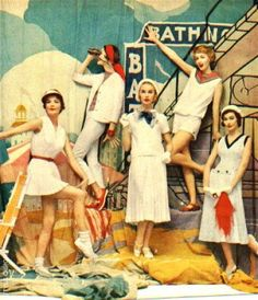 Nautical Fashion 1950's.   You must only serve white wine when these women are onboard.