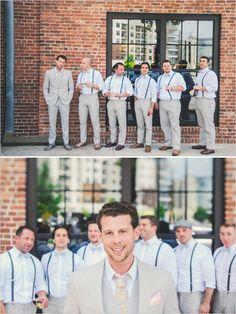 grey groomsmen in suspenders http://www.weddingchicks.com/2013/11/26/gold-and-gray-wedding/