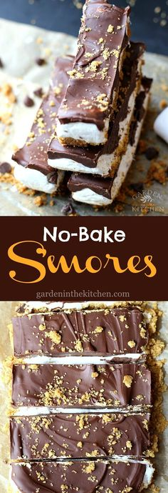 No-Bake S'mores Bars, a fun spin on the classic s'mores! | Garden in the Kitchen #smores #smoresbars #nobakesmores #nobakedessert #nobakesmoresbars