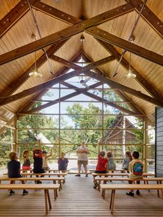 Pine pavilions form Marine Education Center in Mississippi by Lake Flato Architects Halle, Ocean Springs Mississippi, Lake Flato, Covered Walkway, Architect Magazine, Tree Canopy, Wood Structure, Education Center, Arquitetura