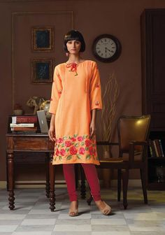 Shop Orange Poly Linen Readymade Kurti 63917 online at best price from vast collection of designer kurti at Indianclothstore.com.