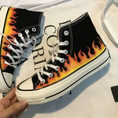Flame canvas shoes – unzzy - Sites new Painted Converse, Painted Canvas Shoes, Painted Clothes, Custom Converse, Diy Converse, Custom Shoes, Aesthetic Shoes, Hype Shoes, Fresh Shoes