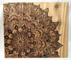Original Artwork Large Pyrography Mandala by tuffjulz on Etsy, $525.00
