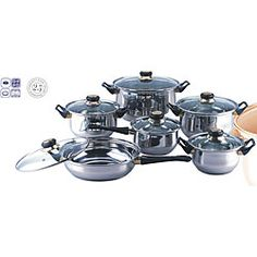 Coordinate your kitchen with this stainless steel cookware set. The set includes saucepans, stock pots and frying pans in a variety of sizes, giving you plenty of options when it comes time t Cool Kitchen Gadgets, Cool Kitchens, Stainless Steel Pot, Pots And Pans Sets, Pan Set, Cookware Set, Kitchen Accessories, Saucepans, Frying Pans