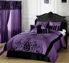 26 Awesome Gothic Bedroom Design Ideas : 26 Awesome Gothic Bedroom Design With Black Purple Big Bed Pillow Blanket And Window Curtain And Wooden Floor