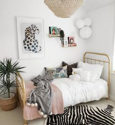 Here is 8 Cheap Things to Maximize a Small Bedroom . Young Adult Bedroom, Bedroom Decor For Teen Girls, Room Ideas Bedroom, Small Room Bedroom, Bedroom Themes, Leopard Room, Leopard Bedroom Decor, Indie Room, Aesthetic Bedroom