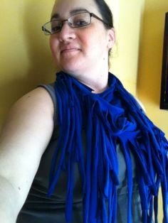 Primary Blue Recycled Tshirt Infinity Fashion Scarf by 3colon7, $10.00