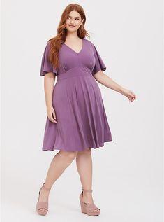 cd6d9204266 Plus Size Purple Studio Knit Flutter Skater Dress