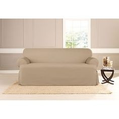 Sure+Fit+Heavyweight+Cotton+Duck+One+Piece+T-cushion+Sofa+Slipcover,+Khaki