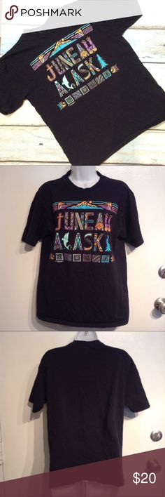 """🍂5for$25🍂JUNEAU ALASKA Graphic Souvenir Tee Juneau, Alaska black tee with colorful boho hipster style """"Juneau, Alaska"""" written on it. Has Dolphins, trees, mountains, fish, and Native American-esque Eagles. Size unisex medium. 100% cotton. No modeling. Smoke free home. I do discount bundles. Soffe Tops Tees - Short Sleeve"""
