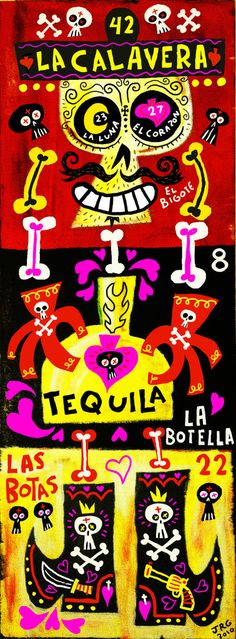 42_La Muerte (27 El Corazón / 23 La Luna) art poster & print by character design by Jorge Gutierrez.