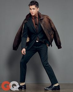 Logan Lerman: The Return of Top Gun Style | Great layering style with the brown leather jacket.