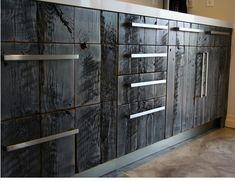 burned barnwood cabinets