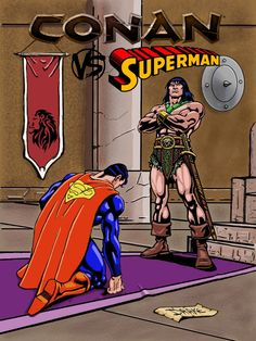 Conan Vs Superman by Drake, Arte Drake, Conan, Marvel Dc, Superman, Comic Books, Comics, Cartoons, Cartoons, Comic