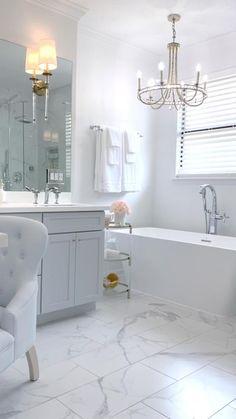 White Master Bathroom, Small Master Bathroom Ideas, Modern White Bathroom, Master Bathroom Shower, White Bathroom Cabinets, Bathroom Showers, Bathroom Renos, Bathroom Furniture, Bathroom Shower Remodel