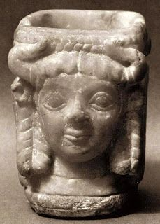 "2600-2350 BCE. Horned Women; carved alabaster Vessel. about 5"" deep. Sumerian, Mesopotamia; Early Dynastic lll"
