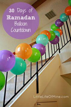 30 Days of Ramadan Balloon Countdown. Fill the balloons with dollar store trinkets or party favors to enjoy after iftar. Eid Crafts, Ramadan Crafts, Diy And Crafts, Crafts For Kids, 16 Balloons, The Balloon, Ramadan Activities, Islam, Ramadan Mubarak
