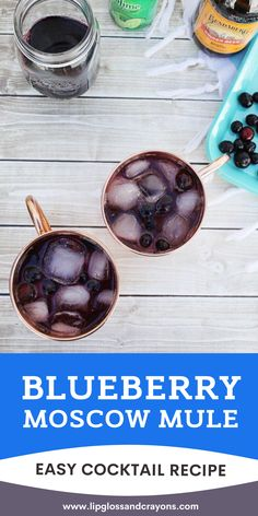 This warm weather cocktail is easy to make and DELISH!  Blueberry Moscow Mule cocktails are perfect for end of summer and into fall! Spring Cocktails, Easy Cocktails, Cocktail Recipes, Moscow Mule Recipe, Fruity Drinks, Cocktail Parties, Warm Weather, Blueberry, Delish