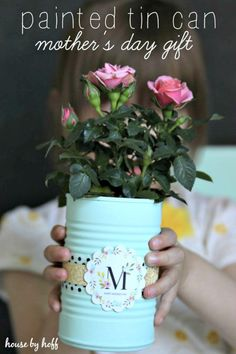 DIY Painted Tin Cans – A Mother's Day Gift Idea - 101 Mothers Day Gifts and Craft Ideas to DIY This Weekend - DIY & Crafts