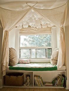Create Lovely Little Nooks for Reading & Sleeping Nook And Cranny, Casa Ideal, Window Nooks, Window Seat Curtains, Window Bed, Valance Curtains, Hanging Drapes, Hanging Lamps, Window Sill