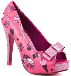 IRON FIST Demon Donkey Pink Glitter Heels