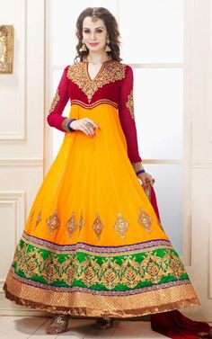 $111.11 Red and Yellow Zardosi with Stone Work Faux Georgette Anarkali Suit 26281