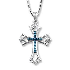 Blue/White Diamonds 1/10 ct tw Cross Necklace Sterling Silver