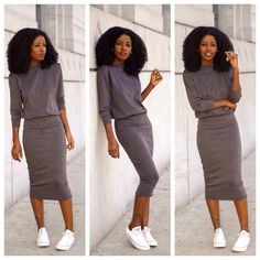 Grey bodycon with white chucks super cute look love her style