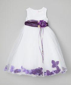 Look at this #zulilyfind! White & Purple Floral A-Line Dress - Toddler & Girls by Kid's Dream #zulilyfinds