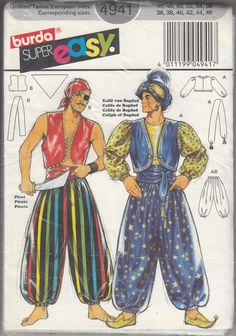 Uncut patterns and instructions for pants, tops, sash, and scarf.  NO SEAM ALLOWANCES ON PRINTED PATTERN.  Plastic package is worn.