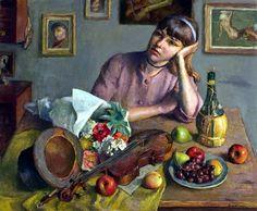 Brackman, Robert (1898-1980) - 1957 Reverie (Norton Museum of Art, West Palm Beach, Florida, USA)   Flickr - Photo Sharing! - Pinterest