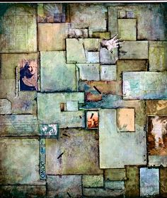 "Mitzi Trachtenberg, The Search"" Collage/mixed media on canvas - 3'x4'"