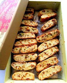 Fig and Pistachio Biscotti - Proud Italian Cook Italian Cookies, Italian Desserts, Italian Recipes, Italian Biscuits, Italian Dishes, Fig Recipes, Cookie Recipes, Oven Recipes, Easy Recipes