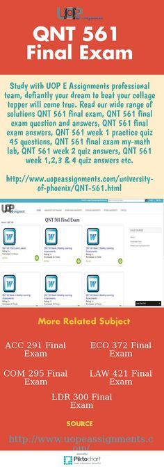 When you study for QNT 561 final exam from UOP E Assignments you can easily learn what you want and when because our experts are always ready for you. Instantly deal with largest portal and get excellent final exam support for QNT 561 final exam, QNT 561 final exam question and answers, QNT 561 final exam answers, QNT 561 week 1 practice quiz 45 questions, QNT 561 final exam my-math lab, QNT 561 week 2 quiz answers etc. http://www.uopeassignments.com/university-of-phoenix/QNT-561.html