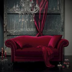 cerise red velvet couch sofa