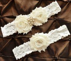 Wedding Garter Set Bridal Garter Set  Ivory by somethingnewdesigns, $22.00