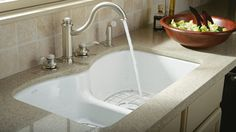 KOHLER | Langlade® Enameled Cast Iron Kitchen Sink-   Under-mounted Double Sink.