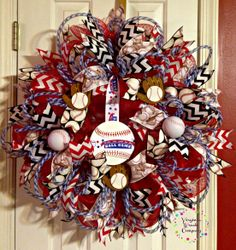 A custom baseball Deco Mesh Wreath made for a customer